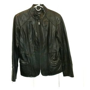 Alfani black genuine leather jacket